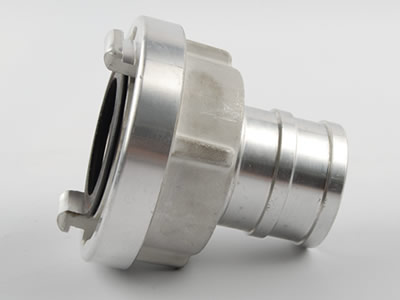 Side face of aluminum storz suction hose coupling which can see projecting lugs, seal and tube.