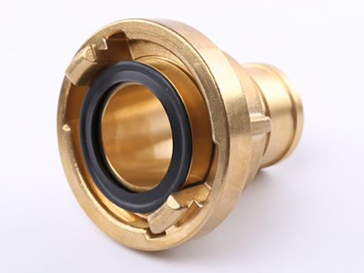 The picture shows projecting lugs, mating recesses and seal of brass storz suction hose coupling.